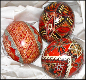 Three ostrich eggs decorated in the Ukrainian style